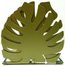 Tropical Jungle Metal Leaf Bookends 1 Set Gold (pair Of 2) New