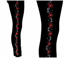 REGULAR OR PLUS SIZE LEGGINGS Embellished With Rhinestone Red Floral Band Design
