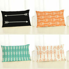 Rectangle Linen Cotton Pillow Case Throw Waist Cushion Cover Sofa Car Home Decor