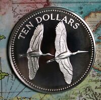 1979 BELIZE STERLING SILVER RARE TEN DOLLAR PROOF COLLECTOR COIN. FREE SHIPPING
