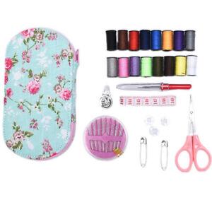 Portable Travel Sewing Kits Box Multicolor Needle Thread Pin Scissors Sewing  PO