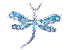 Blue Purple Glitter Enamel Painted Crystal Rhinestone Dragonfly Pendant Necklace