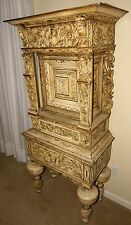 1790 CASTLE - Highly Carved European Court Cabinet -MEDIEVAL GOTHIC - MAKE OFFER