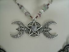 Fluorite Triple Moon Necklace, wiccan wicca pagan pentagram witchcraft pentacle