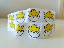 """1.5 YD 22 mm (7/8"""") Wide White/Yellow easter chicken Grosgrain printed ribbon"""