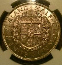 3 KEY DATE 1941 New Zealand AU58 3 and 6 Pence, XF45 1/2 Crown NGC LOW POP