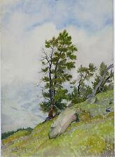 Aquarelle Valais Suisse Henri Gommers Montagne 1958