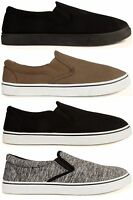 Men's Slip On Casual Canvas Trainers Pumps Plimsolls Espadrilles Deck Shoes