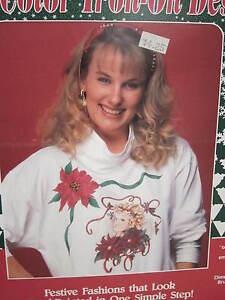 PLAID Brand IRON-ON CHRISTMAS SHIRT ANGEL POINSETTIA TRANSFER Vintage 1991 NEW