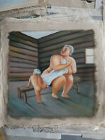 Hand made Modern art Oil Painting on Canvas Fat woman  no frame #011