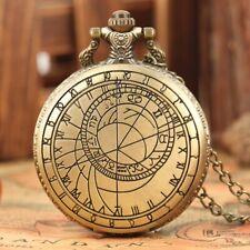 Classic Bronze Pattern Men Women Quartz Pocket Watch 80cm Pendant Chain Gifts