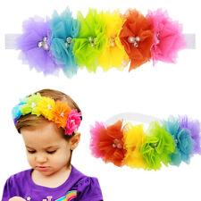 Baby Girl Rainbow Flower Headband Lace Pearl Hairband Tiara Hair Accessories