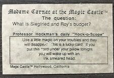 """Vintage """"Madame Carnac"""" at Magic Castle Card - Thanks to member Johnny Carson"""
