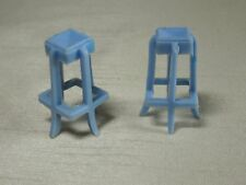 Vintage Dollhouse Set of 2 Light Blue Barstools (Marx/Superior?)