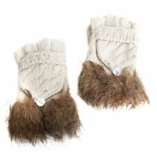 Ladies Off White Combination Fashion Gloves/Mittens with Fur Trim
