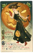 Winsch Halloween Schumucker  Lady in Black Dress Huge JOL Goblins