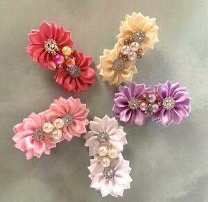 GIRLS-HAIR CLIP-RHINESTONE-DIAMANTE-SATIN FLOWERS-BRIDESMAID-FLOWER GIRL WEDDING