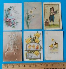 SET OF SIX VINTAGE EASTER POST CARDS WITH 5 ONE-CENT STAMPS 1911+
