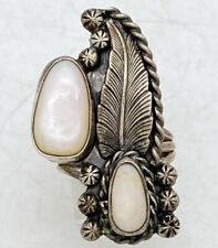 """Navajo Large Sterling Silver Mother Of Pearl Ring Tooled Sz 8.5 10.6g 1.5"""""""