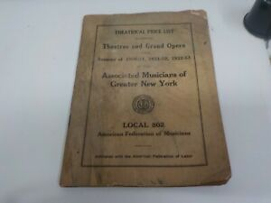 RARE 1930S THEATRICAL PRICE LIST THEATERS GRAND OPERA LOCAL 802 NYC AMR FED