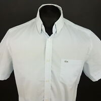 Lacoste Mens Shirt 39 (SMALL) Short Sleeve Blue Classic Fit Check Cotton