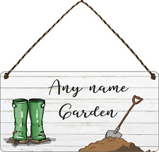 Personalised Garden Sign Shed Plaque Summer House Sign Gift Allotment wellies
