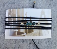 Green Moss Agate Gemstone Black Suede Leather Choker Necklace / Wrap Bracelet