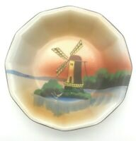 "VTG 1930's TRICO Nagoya Japan Hand Painted 7"" Porcelain  Bowl  Sunset Windmill"