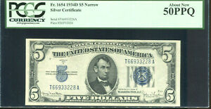 1934-D $5 Silver Certificate Narrow T66933228A PCGS About New 50PPQ