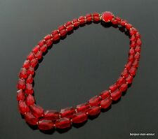 """""""Rote Lola"""" Rotes Plastik / Lucite Strass Collier, W. Germany sign. Leicht"""