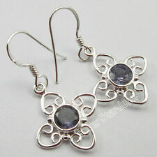 """925 Solid Silver Original IOLITE Earrings Pair 1.3"""", MODERNISTIC NEW Jewelry"""