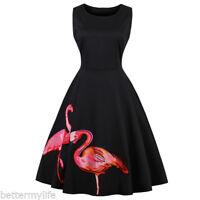 Zaful Vintage Two Flamingo Print Dress Sleeveless Retro Swing Dresses