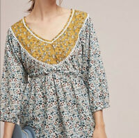 Anthropologie Blue Tassel Yellow and Blue Calico Floral Print 3/4 Sleeve Top XS