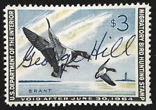 US Duck Stamp 1963 $3 Pair of Brant Landing Scott # RW30 Used