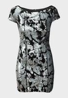 Black Silver Mini Dress Velvet Sequin UK M. Forever 21 Bodycon Wiggle BNWOT