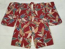 VTG JAPANESE HAORI KIMONO SHORT FLORAL QUILT PATTERN SMALL CHILD OR DOLL SIZE