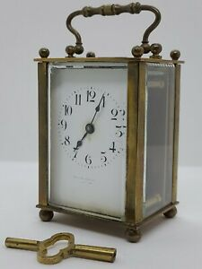 Victorian 19th C. Brass & Beveled Glass Carriage Clock Duverdrey Bloquel France