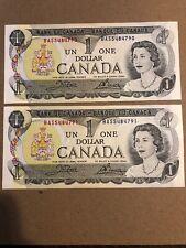 1973 Canada One Dollar. 2 Uncirculated Consecutive Note BAS