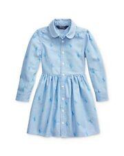 Polo Ralph Lauren Blue Little Girl's Pony Cotton Shirtdress, Long Sleeve sz 5
