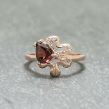 Natural 1.45ct Garnet & White Sapphire 14k Rose Gold / Sterling Ring Size 7 2.9g