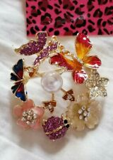 Butterfly Insects Brooch Pin Jewelry BetseyJohnson Crystal Fall Wreath Flower