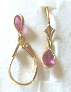 Pretty little lever back , tear drop pink tourmaline earring