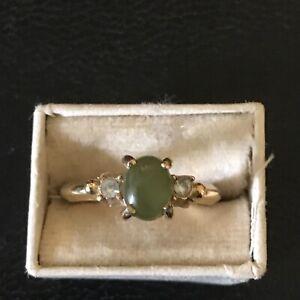Vintage AVON Signed Oval Jade Stone & Rhinestones Ring - Size 6 Gold Tone