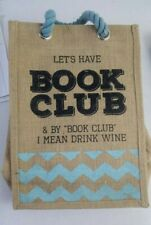 NEW Book Club Reusable Canvas bag Wine Bottles travel party gift voyager tote