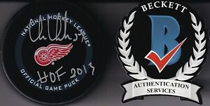 "BECKETT CHRIS CHELIOS ""HOF 2013"" SIGNED DETROIT RED WINGS REAL GAME PUCK WK78977"