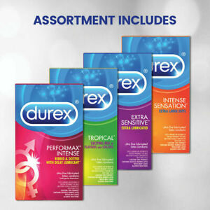 Durex Pleasure Pack Assorted Natural Latex Condoms - 24 Pieces NEW