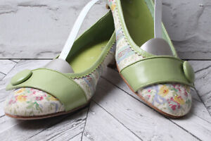 GUCINARI Party Sandals Court Pumps RRP £99 White Green Leather Summer Beach 39 6