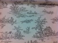 """FRYETT`S Provence,French """"Toile de Jouy""""Pewter Cotton Fabric, Curtain/Upholstery"""