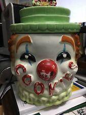 "Cookie Jar Clown ruffle collar vintage 9"" tall"