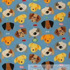 BonEful Fabric Cotton Quilt Blue Yellow Black White Dog Cartoon Face Head SCRAP